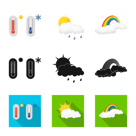 Vector illustration of weather and climate sign. Set of weather and cloud vector icon for stock.