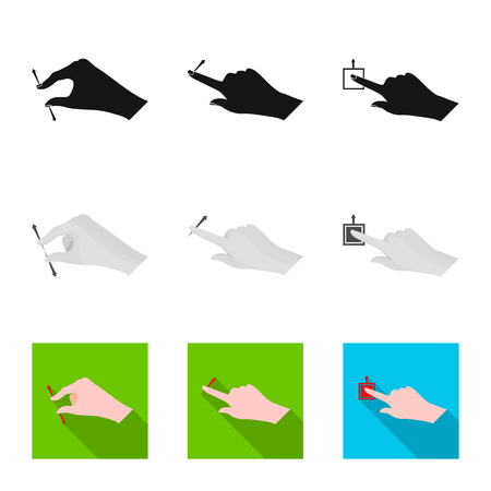 Vector illustration of touchscreen and hand sign. Set of touchscreen and touch vector icon for stock.