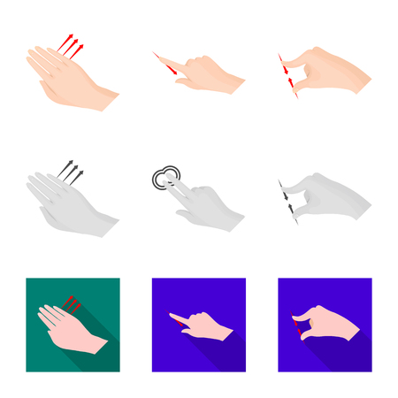 Vector illustration of touchscreen and hand icon. Collection of touchscreen and touch stock symbol for web.