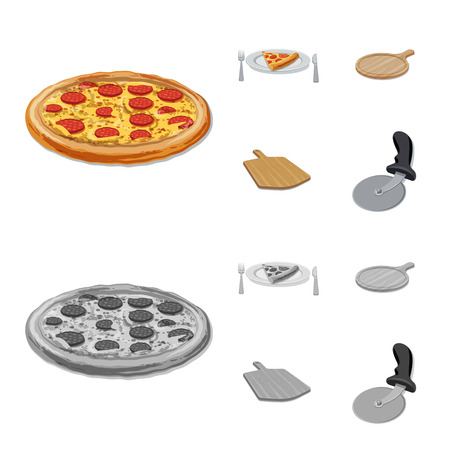 Vector design of pizza and food logo. Set of pizza and italy stock symbol for web.