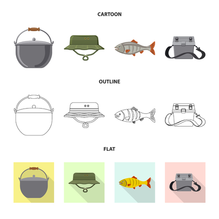 Isolated object of fish and fishing logo. Collection of fish and equipment vector icon for stock. Stock Illustratie