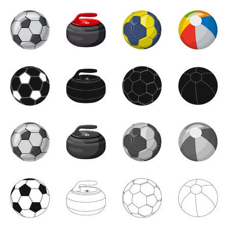 Vector illustration of sport and ball symbol. Collection of sport and athletic stock symbol for web.