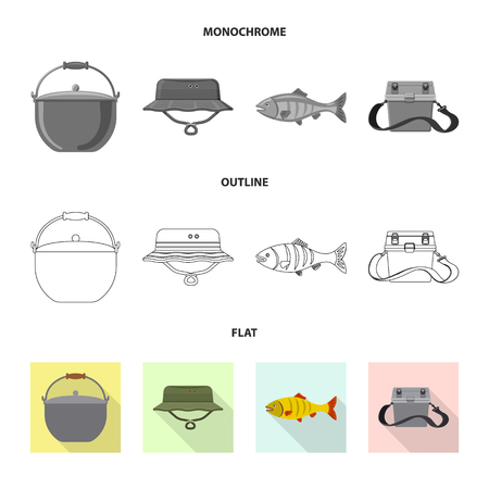Isolated object of fish and fishing symbol. Collection of fish and equipment stock vector illustration. Stock Illustratie