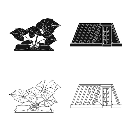 bitmap design of greenhouse and plant icon. Set of greenhouse and garden bitmap icon for stock.