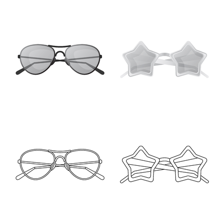 bitmap illustration of glasses and sunglasses symbol. Collection of glasses and accessory bitmap icon for stock.