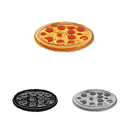Isolated object of pizza and food symbol. Collection of pizza and italy bitmap icon for stock. 스톡 콘텐츠