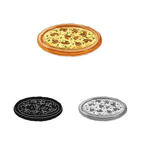 Isolated object of pizza and food logo. Set of pizza and italy stock bitmap illustration. 스톡 콘텐츠