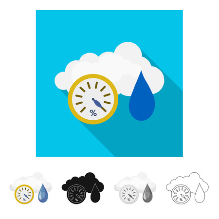 Isolated object of weather and climate sign. Collection of weather and cloud stock bitmap illustration.