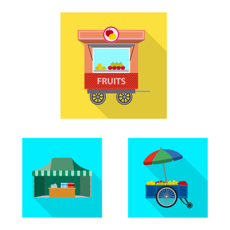 Vector design of market and exterior icon. Set of market and food stock symbol for web. Illustration