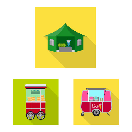 Vector illustration of market and exterior icon. Collection of market and food vector icon for stock.