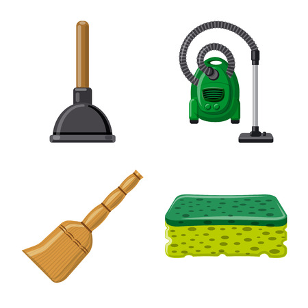 Vector illustration of cleaning and service icon. Set of cleaning and household stock vector illustration.