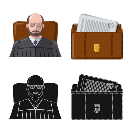 Vector design of law and lawyer logo. Set of law and justice stock symbol for web. Illustration