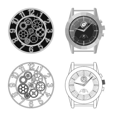Vector design of clock and time symbol. Set of clock and circle stock symbol for web. Vektorgrafik