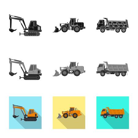 Illustration vectorielle du signe de construction et de construction. Collection d'illustration vectorielle stock de construction et de machines. Vecteurs