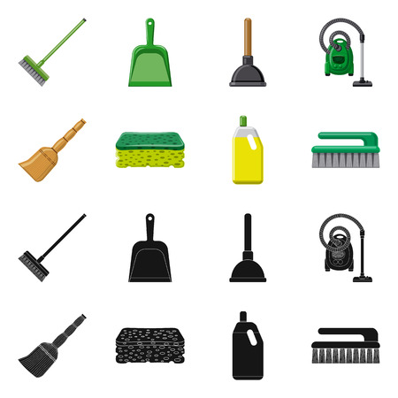 Vector illustration of cleaning and service symbol. Collection of cleaning and household vector icon for stock. Vetores