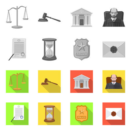 Vector design of law and lawyer symbol. Set of law and justice vector icon for stock.
