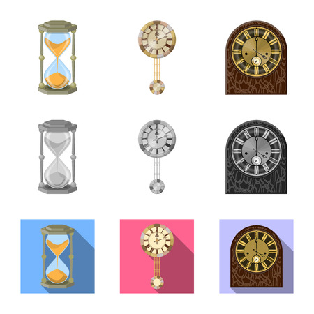 Isolated object of clock and time icon. Collection of clock and circle stock symbol for web.