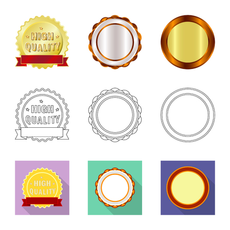 Vector illustration of emblem and badge sign. Collection of emblem and sticker vector icon for stock. Stock Illustratie