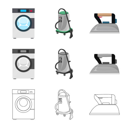 Vector illustration of laundry and clean sign. Collection of laundry and clothes stock symbol for web. Çizim