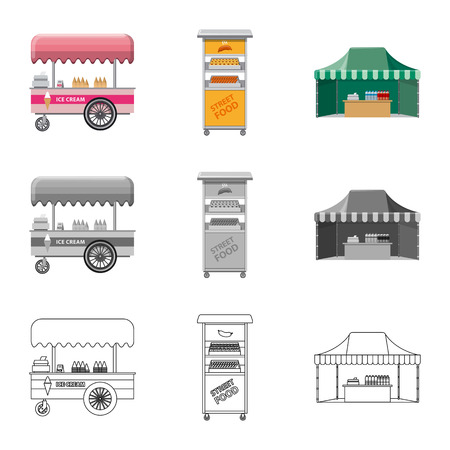 Isolated object of market and exterior symbol. Collection of market and food vector icon for stock.
