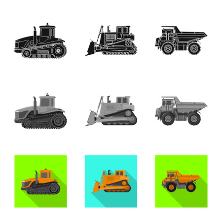 Vector design of build and construction icon. Collection of build and machinery vector icon for stock. Illustration