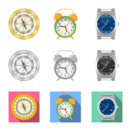 Vector illustration of clock and time symbol. Collection of clock and circle vector icon for stock. Illustration