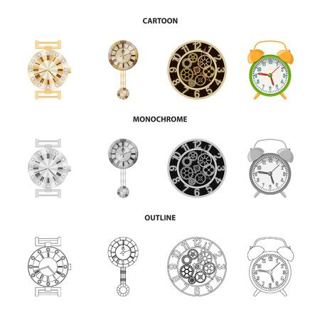 Vektordesign der Uhr und des Zeitsymbols. Sammlung von Uhr und Kreis Lager Symbol für Web.