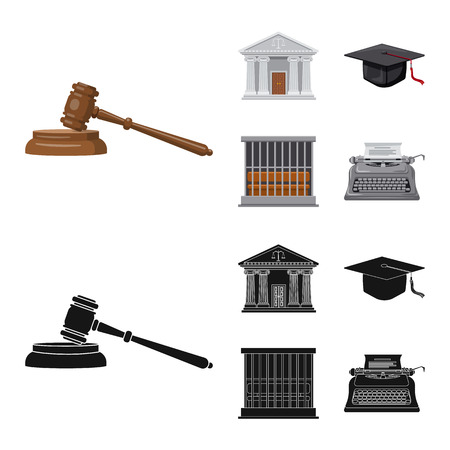 Isoliertes Objekt des Gesetzes und des Anwaltssymbols. Satz von Gesetz und Gerechtigkeit Aktiensymbol für das Web. Vektorgrafik