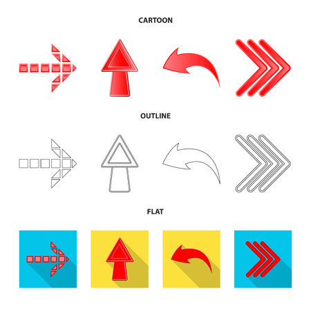 Vector design of element and arrow symbol. Set of element and direction stock vector illustration.