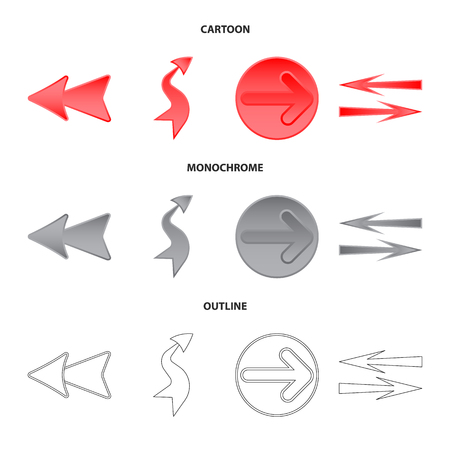 Isolated object of element and arrow icon. Collection of element and direction stock symbol for web. Stock Illustratie