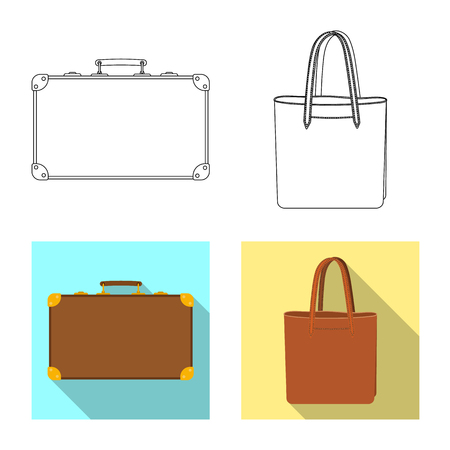 Vector illustration of suitcase and baggage icon. Set of suitcase and journey stock symbol for web. Иллюстрация