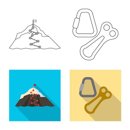Isolated object of mountaineering and peak logo. Collection of mountaineering and camp stock vector illustration. Illustration