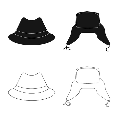 Vector illustration of headgear and cap icon. Collection of headgear and accessory stock symbol for web.