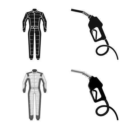 Illustration vectorielle de voiture et signe de rallye. Ensemble d'icône de vecteur de voiture et de course pour le stock. Vecteurs
