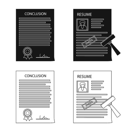 Isolated object of form and document icon. Collection of form and mark stock vector illustration. 일러스트