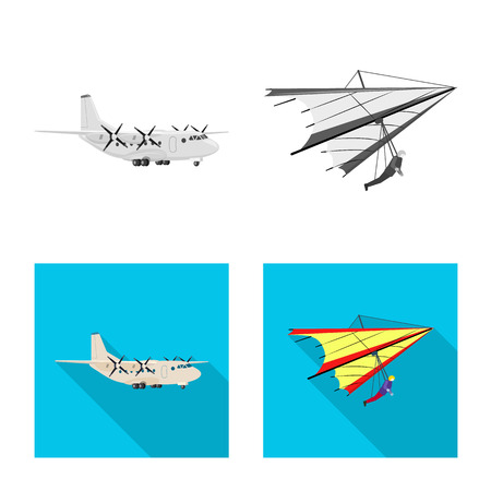 Isolated object of plane and transport logo. Set of plane and sky stock symbol for web.