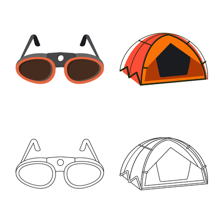 Vector design of mountaineering and peak logo. Collection of mountaineering and camp stock symbol for web.