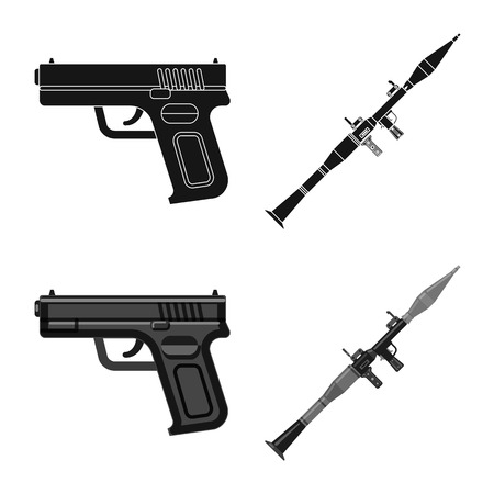 Vector design of weapon and gun icon. Collection of weapon and army stock symbol for web.