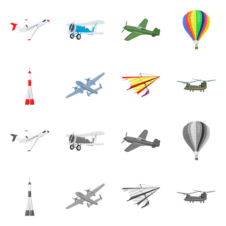 Vector illustration of plane and transport logo. Set of plane and sky stock vector illustration. Ilustrace
