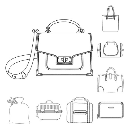Isolated object of suitcase and baggage symbol. Set of suitcase and journey vector icon for stock. Vettoriali