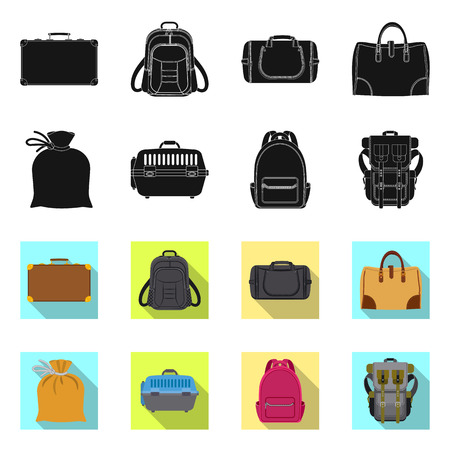 Vector illustration of suitcase and baggage sign. Set of suitcase and journey stock vector illustration.