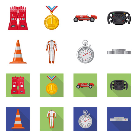 Vector design of car and rally logo. Collection of car and race vector icon for stock. Stock Illustratie