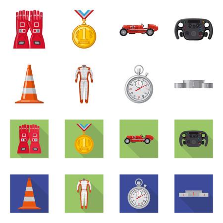Vector ontwerp van auto en rally-logo. Collectie van auto en race vector pictogram voor voorraad.