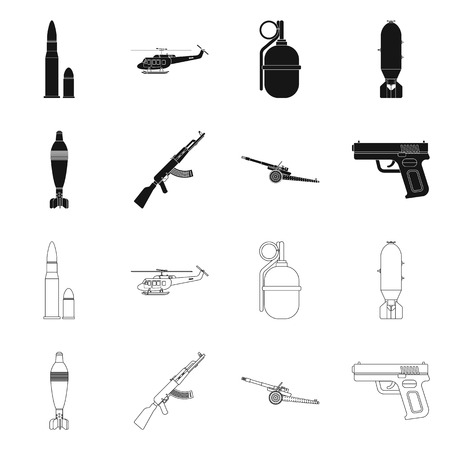 Isolated object of weapon and gun logo. Collection of weapon and army vector icon for stock.