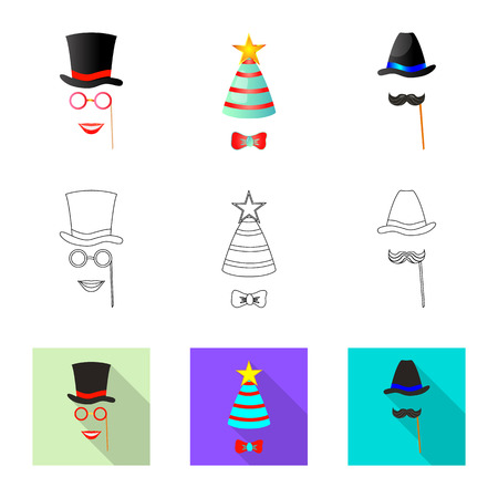 Vector design of party and birthday sign. Collection of party and celebration stock symbol for web. Illustration