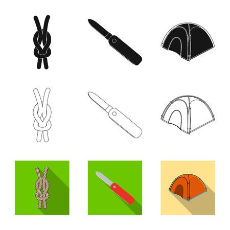 Vector design of mountaineering and peak icon. Set of mountaineering and camp stock vector illustration. Illustration