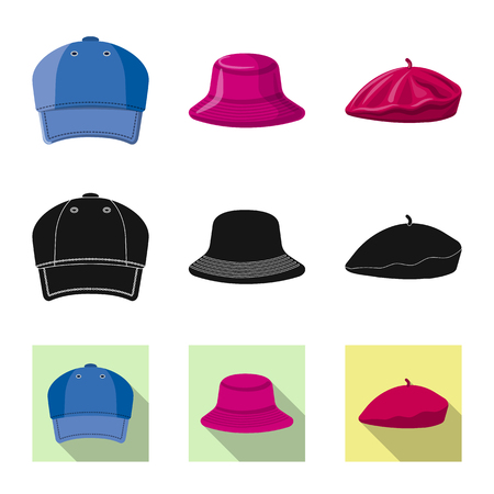 Vector illustration of headgear and cap logo. Set of headgear and accessory vector icon for stock.