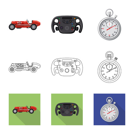 Isolated object of car and rally icon. Set of car and race vector icon for stock. 写真素材 - 111622974