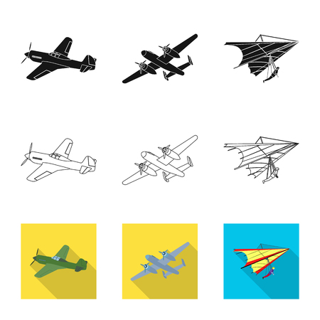 Vector design of plane and transport sign. Set of plane and sky stock symbol for web. Ilustracja