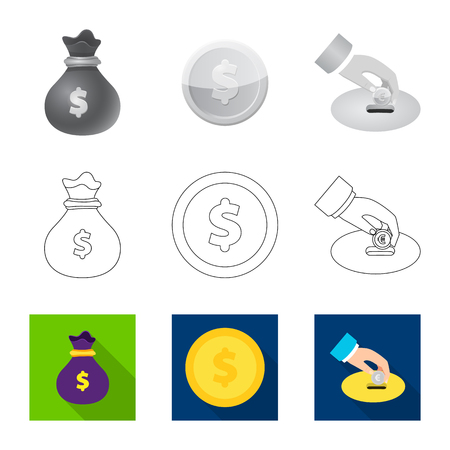 Vector illustration of bank and money icon. Set of bank and bill vector icon for stock.